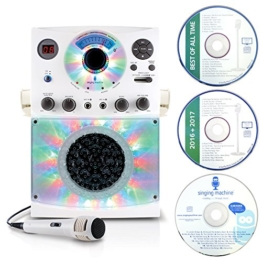 Singing Machine SML385 Karaoke Equipment with Bluetooth 1 Microphone and 36 Current Tracks - White - 1