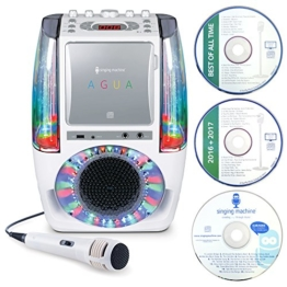 Singing Machine SML605W AGUA Dancing Water Fountain Bluetooth Karaoke System with LED Disco Lights, Wired Microphone and 3 CD's - White - 1