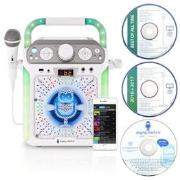 Singing Machine SML682BTW Bluetooth CDG Plus Tablet Karaoke Machine - White - 1